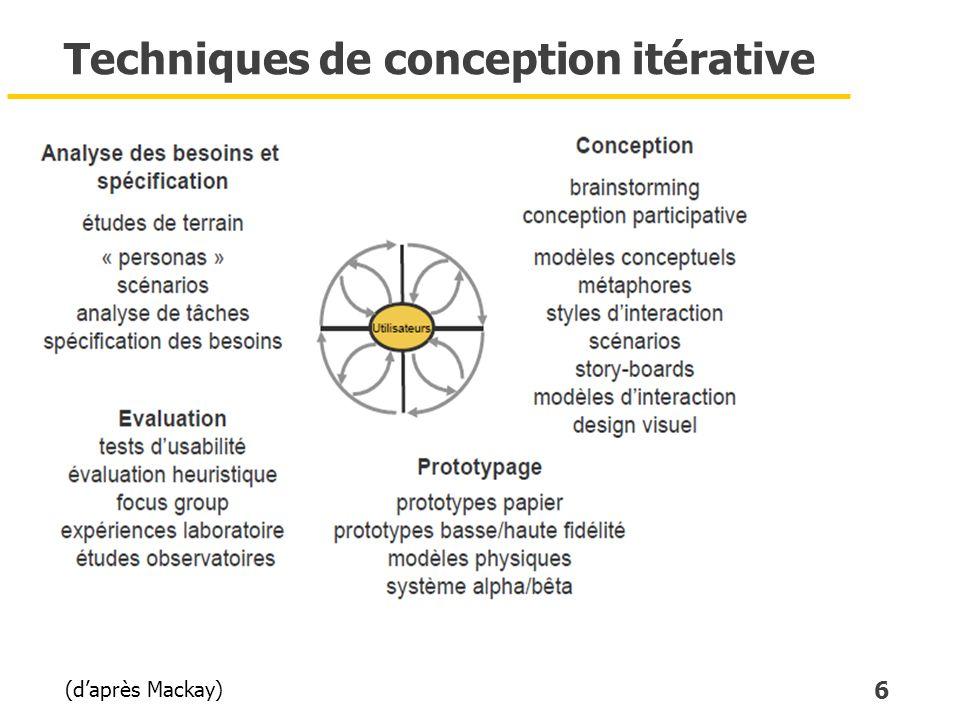 6 Techniques de conception itérative (daprès Mackay)