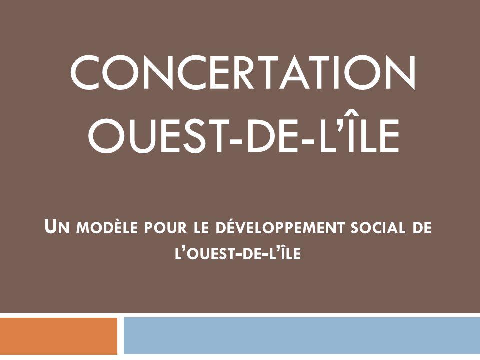 Mission Le Conseil de développement social a pour mission de porter les enjeux majeurs en lien avec le développement social de lOuest-de-lÎle en mobilisant et regroupant lensemble des acteurs du territoire au sein dun processus participatif visant à définir un projet commun damélioration des conditions de vie des citoyens de lOuest-de-lÎle.