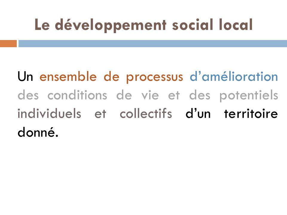 Le développement social local Un ensemble de processus damélioration des conditions de vie et des potentiels individuels et collectifs dun territoire