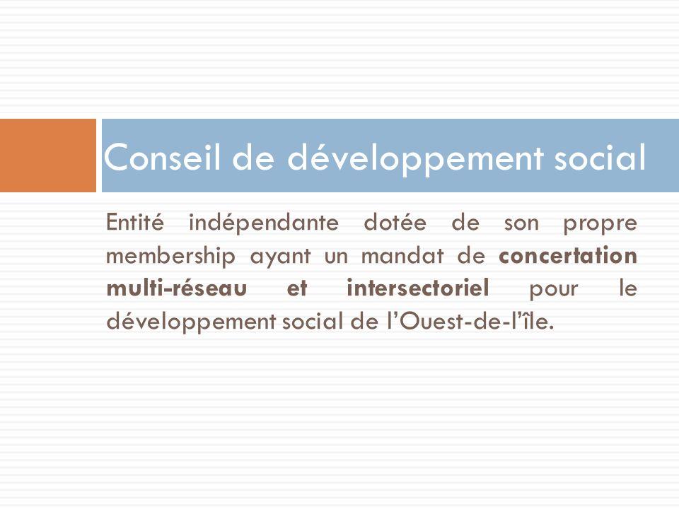 Entité indépendante dotée de son propre membership ayant un mandat de concertation multi-réseau et intersectoriel pour le développement social de lOue