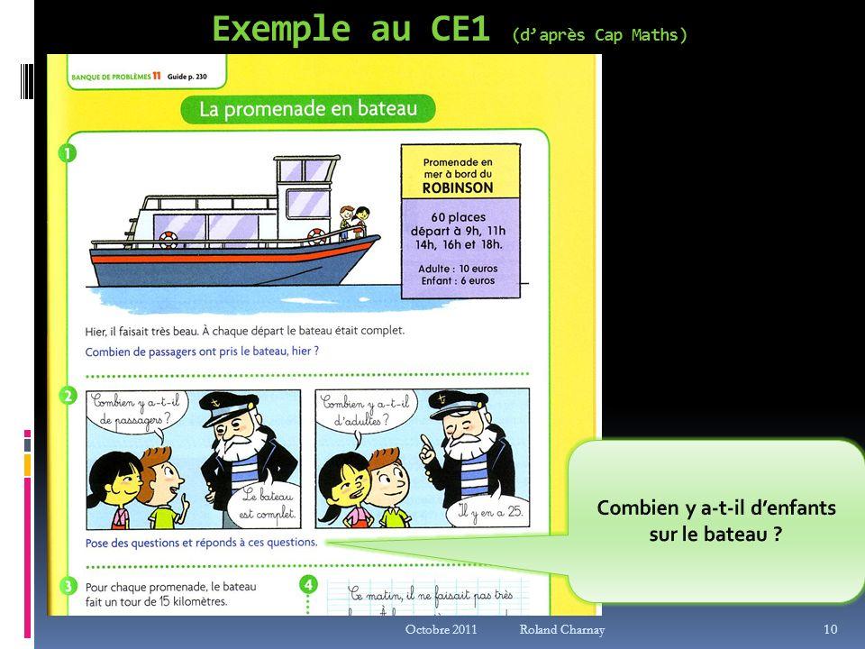 Exemple au CE1 (daprès Cap Maths) Octobre 2011 Roland Charnay 10