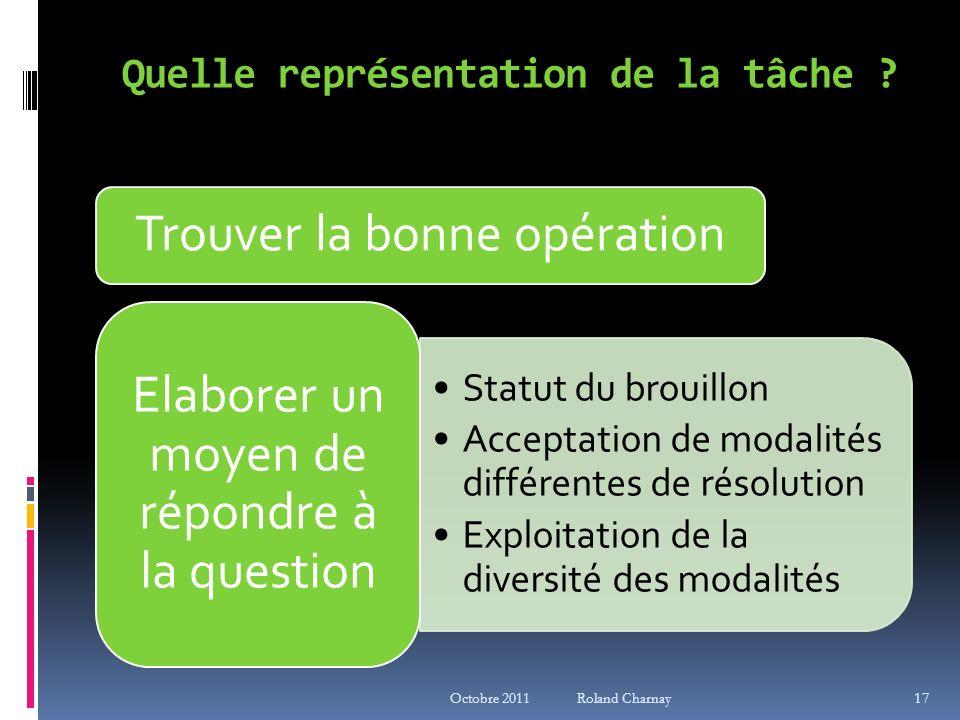 Quelle représentation de la tâche ? Trouver la bonne opération Statut du brouillon Acceptation de modalités différentes de résolution Exploitation de