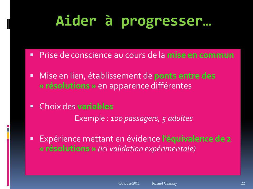 Octobre 2011 Roland Charnay 22 Aider à progresser… Prise de conscience au cours de la mise en commun Mise en lien, établissement de ponts entre des «