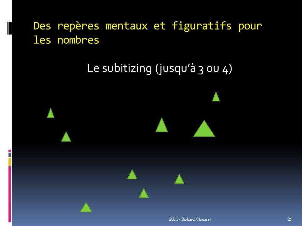 Des repères mentaux et figuratifs pour les nombres Le subitizing (jusquà 3 ou 4) 2011 - Roland Charnay 29
