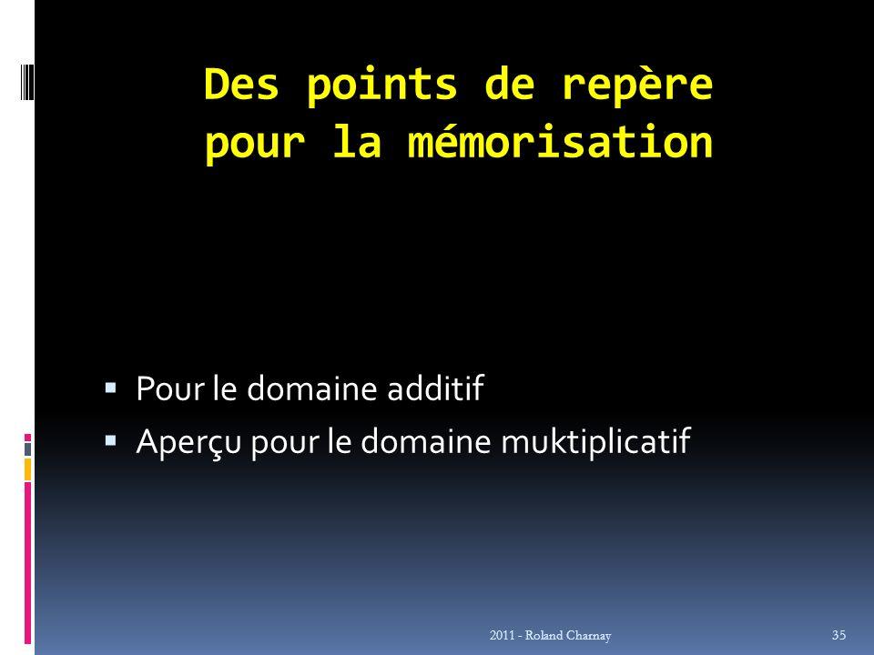 Des points de repère pour la mémorisation Pour le domaine additif Aperçu pour le domaine muktiplicatif 2011 - Roland Charnay 35
