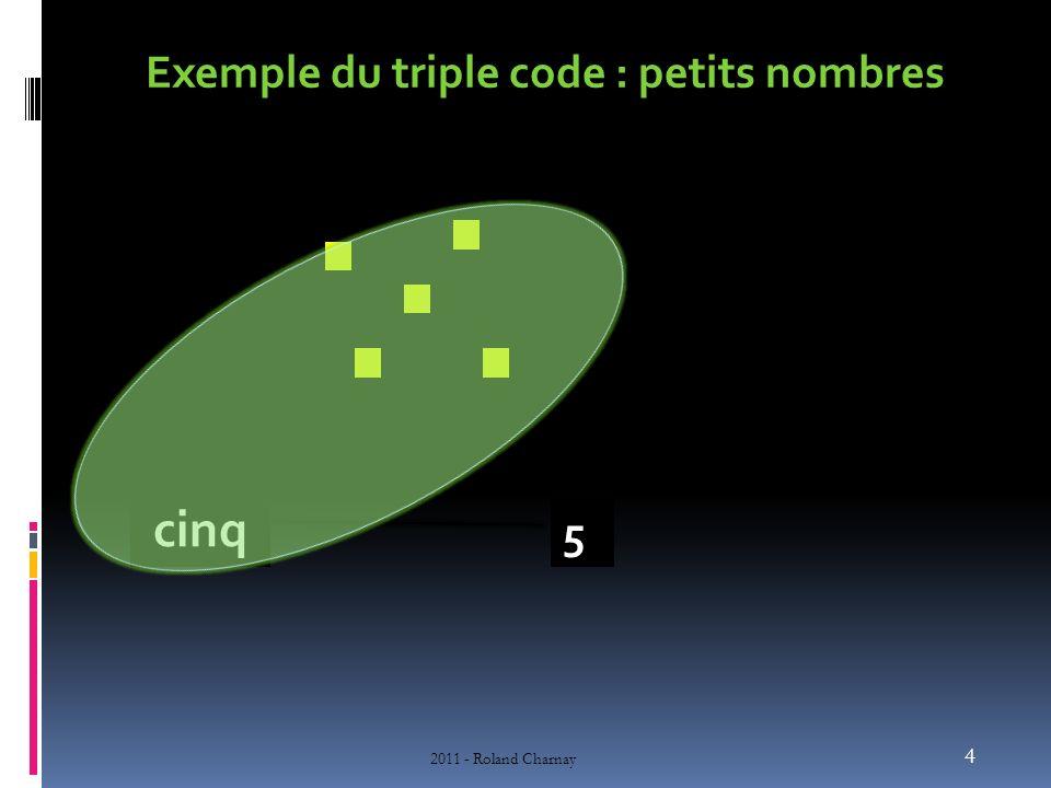 Exemple du triple code : petits nombres 4 2011 - Roland Charnay 5 cinq