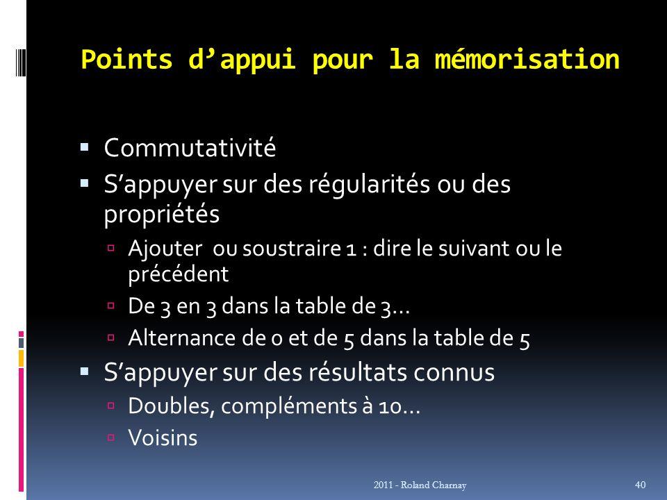 Points dappui pour la mémorisation Commutativité Sappuyer sur des régularités ou des propriétés Ajouter ou soustraire 1 : dire le suivant ou le précéd
