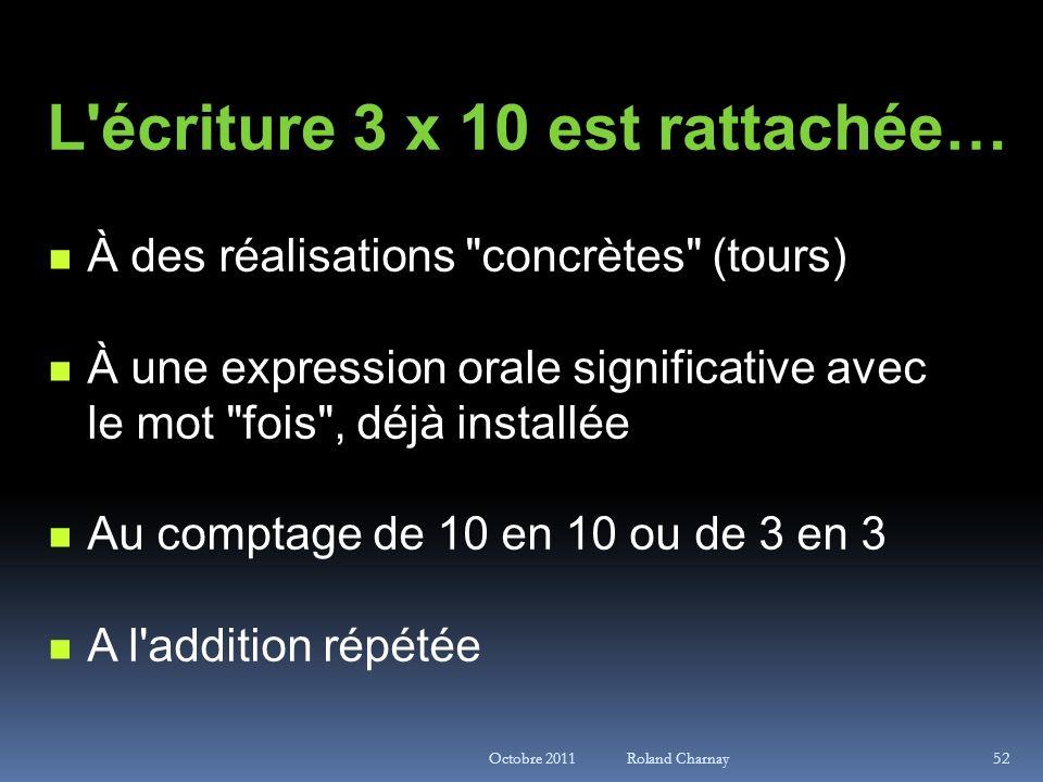 Octobre 2011 Roland Charnay L'écriture 3 x 10 est rattachée… À des réalisations