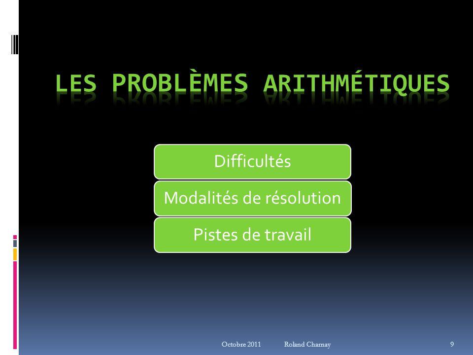 Octobre 2011 Roland Charnay Au départ : même démarche Des problèmes vers le calcul Problème des tours (Cap maths, CE1) Combien de tours, toutes pareilles, peut-on construire avec ces 30 cubes .