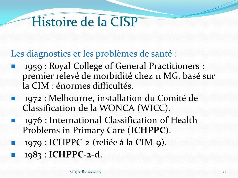 23 Les diagnostics et les problèmes de santé : 1959 : Royal College of General Practitioners : premier relevé de morbidité chez 11 MG, basé sur la CIM : énormes difficultés.