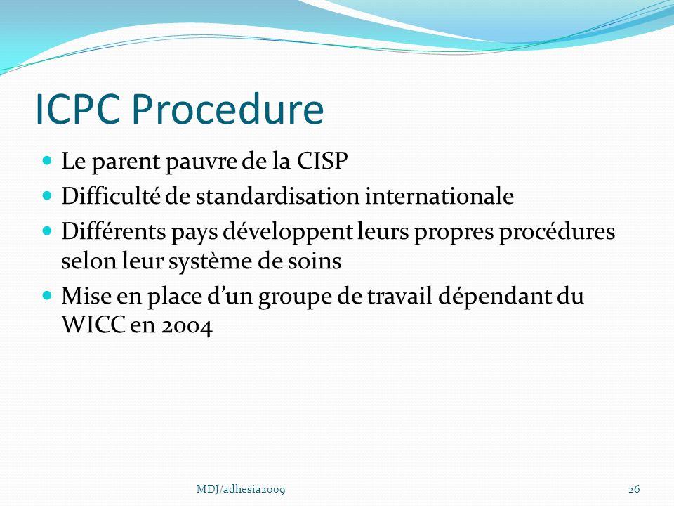 ICPC Procedure Le parent pauvre de la CISP Difficulté de standardisation internationale Différents pays développent leurs propres procédures selon leur système de soins Mise en place dun groupe de travail dépendant du WICC en 2004 26MDJ/adhesia2009