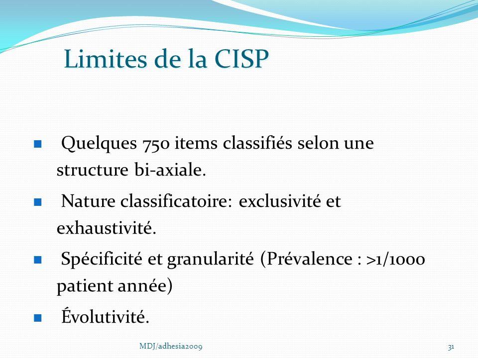31 Limites de la CISP Quelques 750 items classifiés selon une structure bi-axiale.