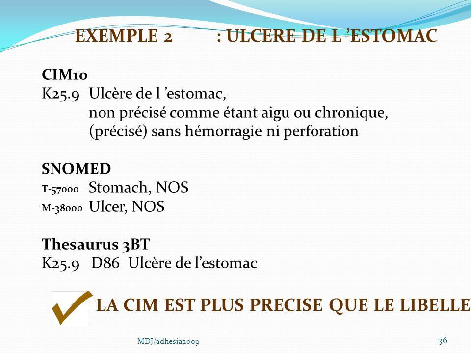 36 CIM10 K25.9Ulcère de l estomac, non précisé comme étant aigu ou chronique, (précisé) sans hémorragie ni perforation SNOMED T-57000 Stomach, NOS M-38000 Ulcer, NOS Thesaurus 3BT K25.9 D86 Ulcère de lestomac LA CIM EST PLUS PRECISE QUE LE LIBELLE EXEMPLE 2: ULCERE DE L ESTOMAC MDJ/adhesia2009