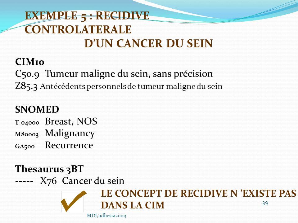 39 CIM10 C50.9Tumeur maligne du sein, sans précision Z85.3 Antécédents personnels de tumeur maligne du sein SNOMED T-04000 Breast, NOS M80003 Malignancy GA500 Recurrence Thesaurus 3BT ----- X76 Cancer du sein LE CONCEPT DE RECIDIVE N EXISTE PAS DANS LA CIM EXEMPLE 5 : RECIDIVE CONTROLATERALE DUN CANCER DU SEIN MDJ/adhesia2009
