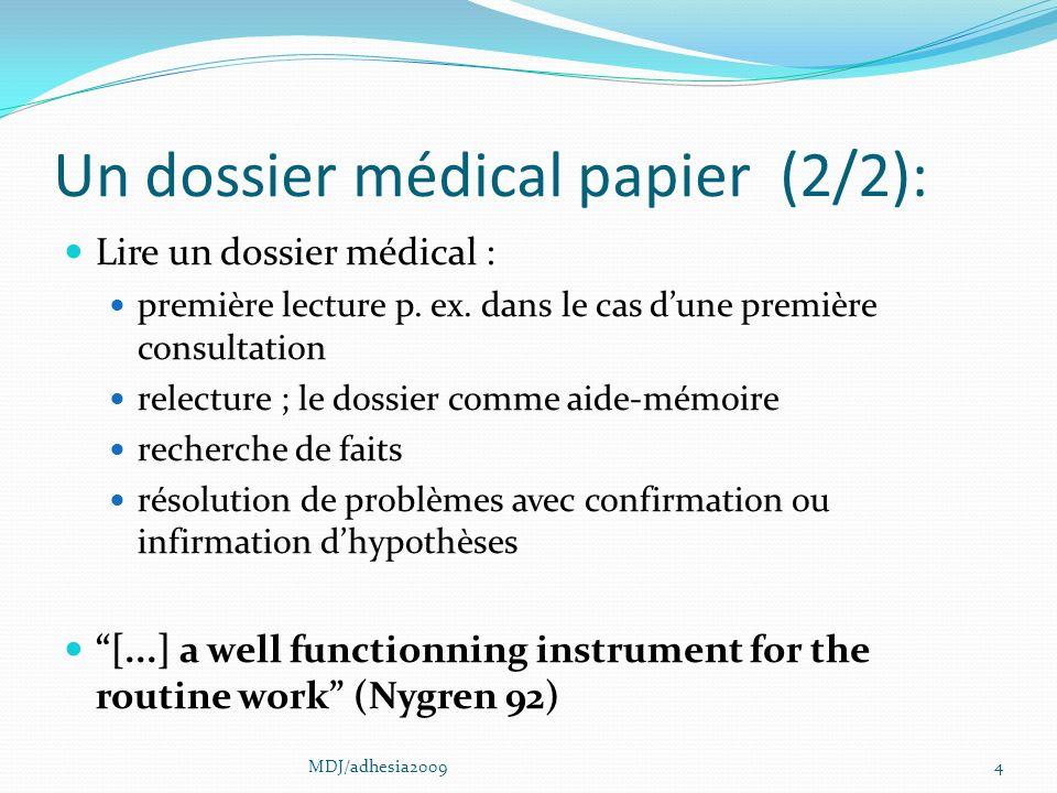 Un dossier médical papier (2/2): Lire un dossier médical : première lecture p.