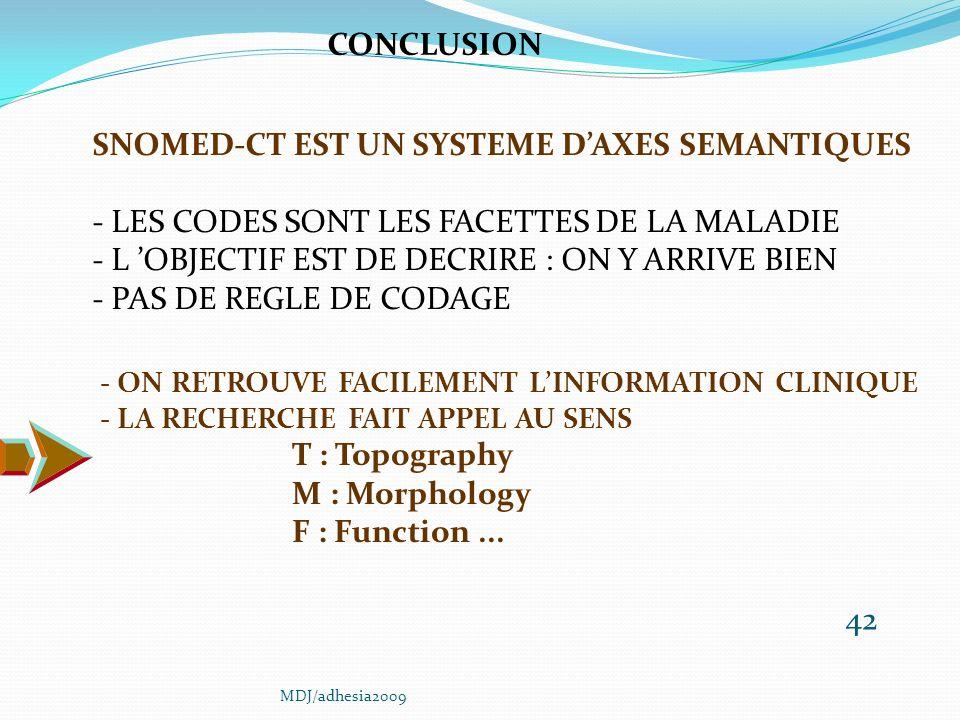 42 SNOMED-CT EST UN SYSTEME DAXES SEMANTIQUES - LES CODES SONT LES FACETTES DE LA MALADIE - L OBJECTIF EST DE DECRIRE : ON Y ARRIVE BIEN - PAS DE REGLE DE CODAGE CONCLUSION - ON RETROUVE FACILEMENT LINFORMATION CLINIQUE - LA RECHERCHE FAIT APPEL AU SENS T : Topography M : Morphology F : Function...