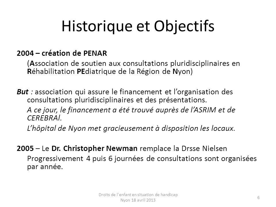 Historique et Objectifs 2004 – création de PENAR (Association de soutien aux consultations pluridisciplinaires en Réhabilitation PEdiatrique de la Rég