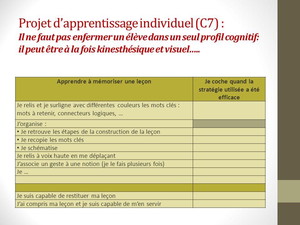 Projet dapprentissage individuel (C7) : Il ne faut pas enfermer un élève dans un seul profil cognitif: il peut être à la fois kinesthésique et visuel…