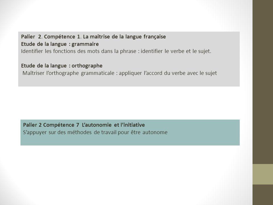 Palier 2. Compétence 1. La maîtrise de la langue française Etude de la langue : grammaire Identifier les fonctions des mots dans la phrase : identifie