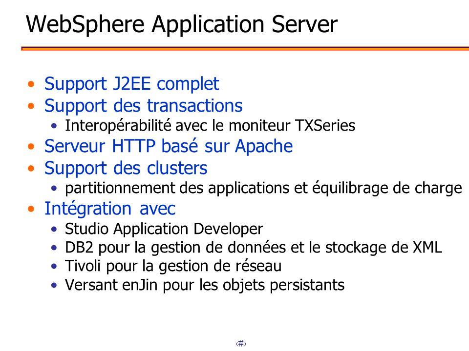 14 WebSphere Application Server Support J2EE complet Support des transactions Interopérabilité avec le moniteur TXSeries Serveur HTTP basé sur Apache