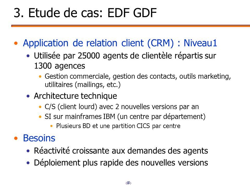 16 3. Etude de cas: EDF GDF Application de relation client (CRM) : Niveau1 Utilisée par 25000 agents de clientèle répartis sur 1300 agences Gestion co