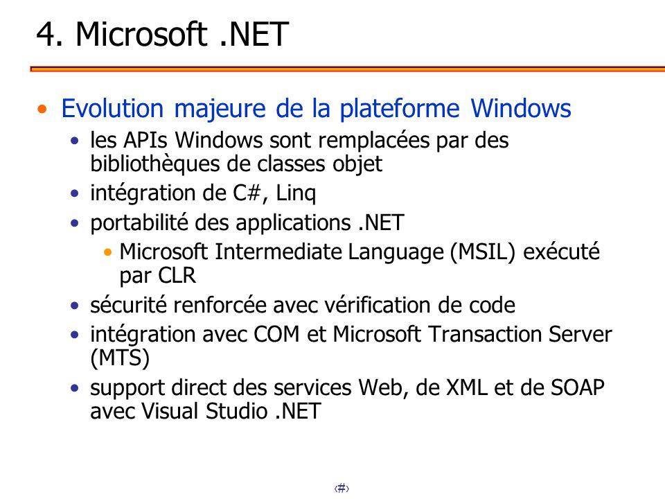 21 4. Microsoft.NET Evolution majeure de la plateforme Windows les APIs Windows sont remplacées par des bibliothèques de classes objet intégration de