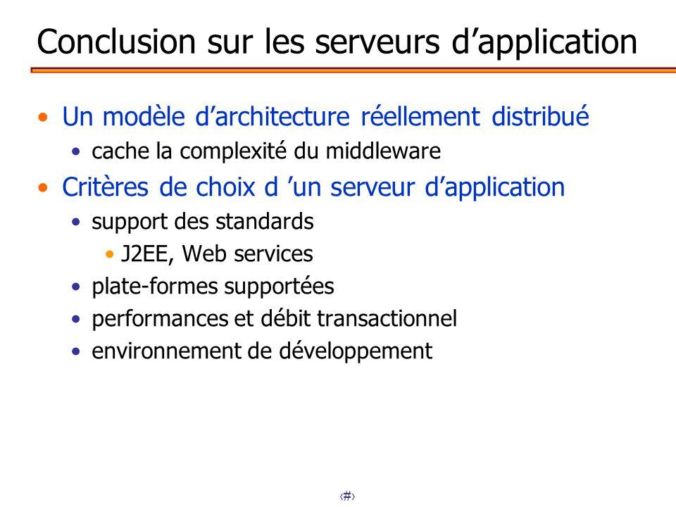 27 Conclusion sur les serveurs dapplication Un modèle darchitecture réellement distribué cache la complexité du middleware Critères de choix d un serv