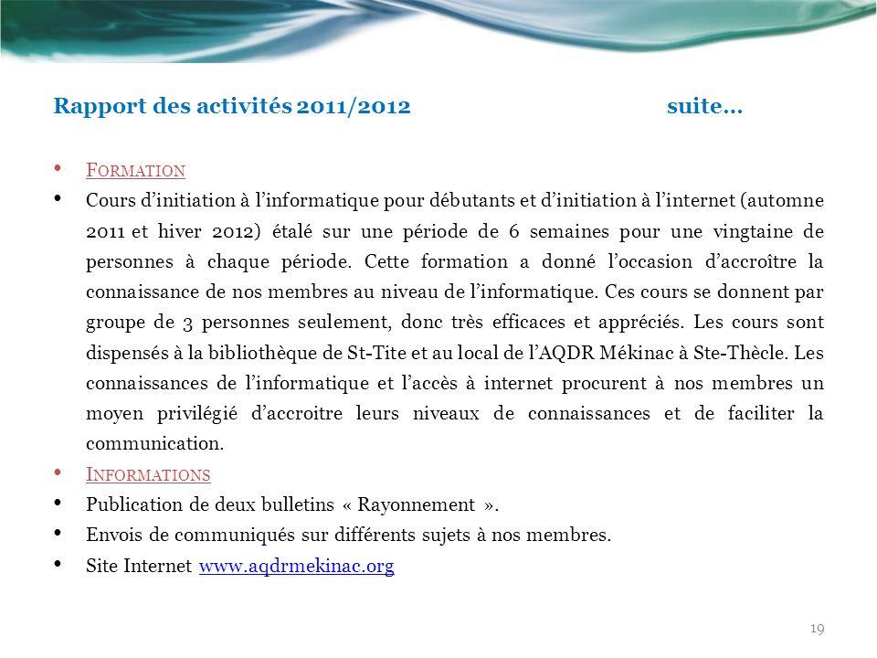 Rapport des activités 2011/2012suite… F ORMATION Cours dinitiation à linformatique pour débutants et dinitiation à linternet (automne 2011 et hiver 20