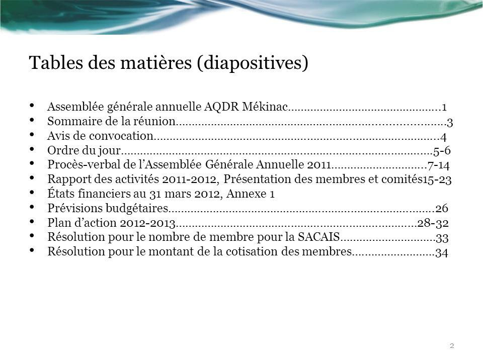 Tables des matières (diapositives) Assemblée générale annuelle AQDR Mékinac………………………………………...1 Sommaire de la réunion…………………………………………………….............