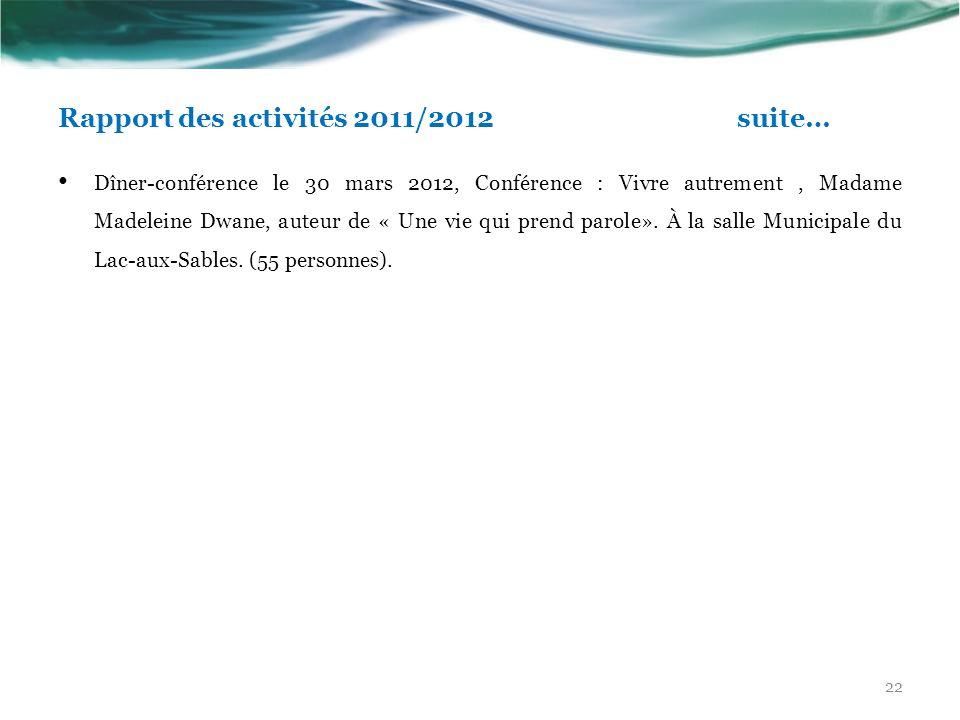 Rapport des activités 2011/2012 suite… Dîner-conférence le 30 mars 2012, Conférence : Vivre autrement, Madame Madeleine Dwane, auteur de « Une vie qui