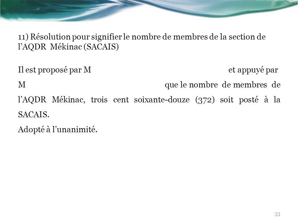 11) Résolution pour signifier le nombre de membres de la section de lAQDR Mékinac (SACAIS) Il est proposé par M et appuyé par M que le nombre de membr