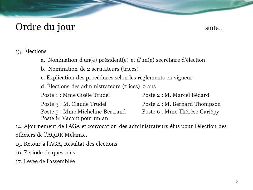 Ordre du jour suite… 13. Élections a. Nomination d'un(e) président(e) et d'un(e) secrétaire d'élection b. Nomination de 2 scrutateurs (trices) c. Expl