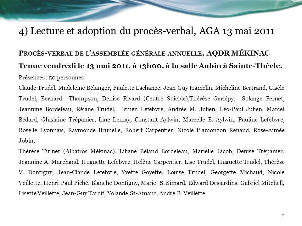 4) Lecture et adoption du procès-verbal, AGA 13 mai 2011 P ROCÈS - VERBAL DE L ASSEMBLÉE GÉNÉRALE ANNUELLE, AQDR MÉKINAC Tenue vendredi le 13 mai 2011