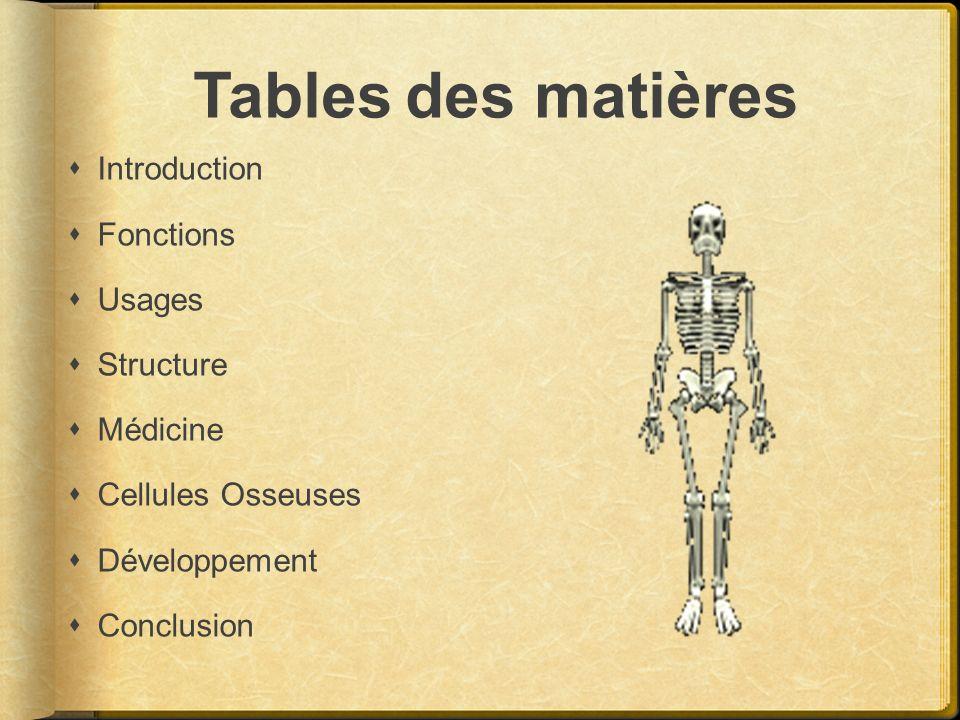 Tables des matières Introduction Fonctions Usages Structure Médicine Cellules Osseuses Développement Conclusion