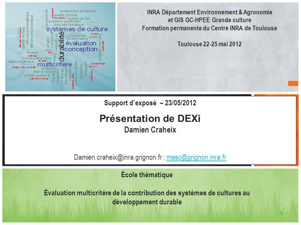 1 INRA Département Environnement & Agronomie et GIS GC-HPEE Grande culture Formation permanente du Centre INRA de Toulouse Toulouse 22-25 mai 2012 Sup