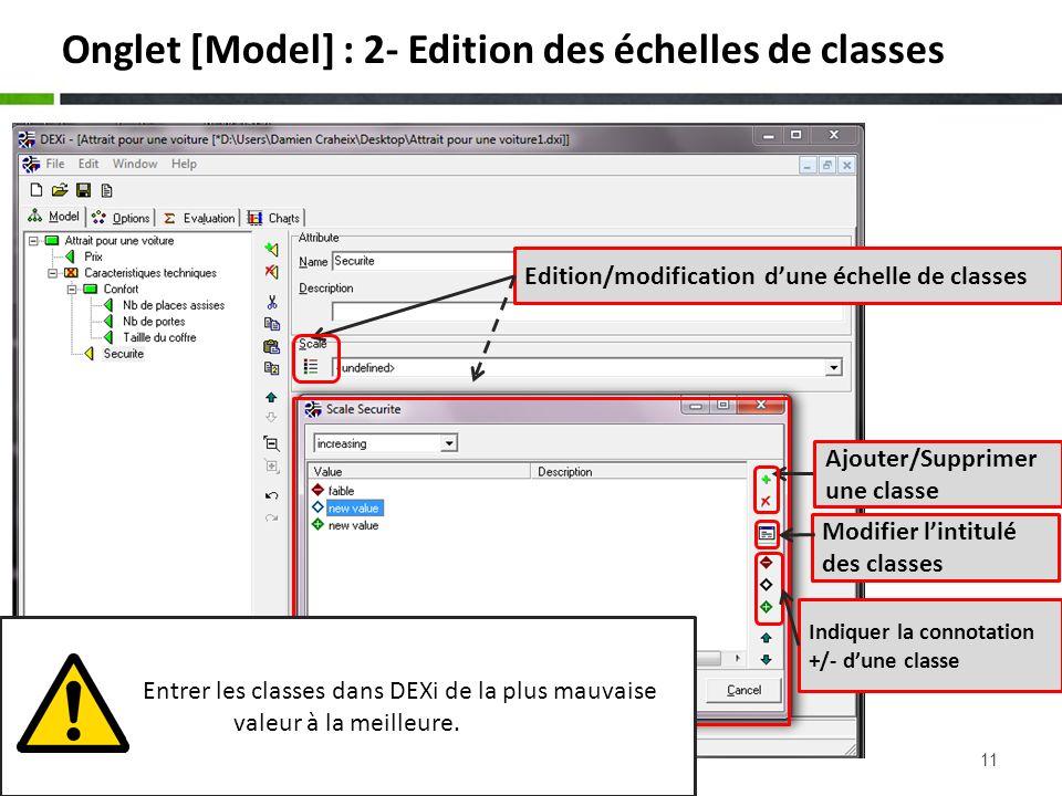 11 Onglet [Model] : 2- Edition des échelles de classes Edition/modification dune échelle de classes Ajouter/Supprimer une classe Modifier lintitulé de