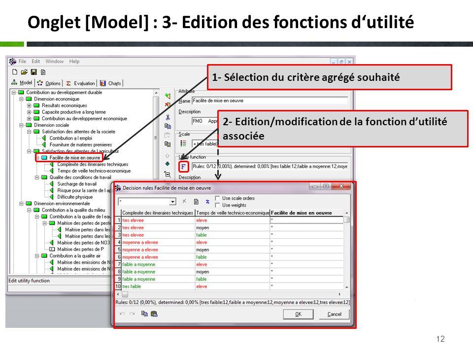12 Onglet [Model] : 3- Edition des fonctions dutilité 2- Edition/modification de la fonction dutilité associée 1- Sélection du critère agrégé souhaité