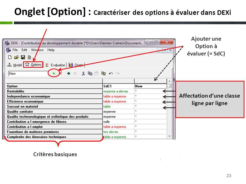 23 Onglet [Option] : Caractériser des options à évaluer dans DEXi Critères basiques Ajouter une Option à évaluer (= SdC) Affectation dune classe ligne