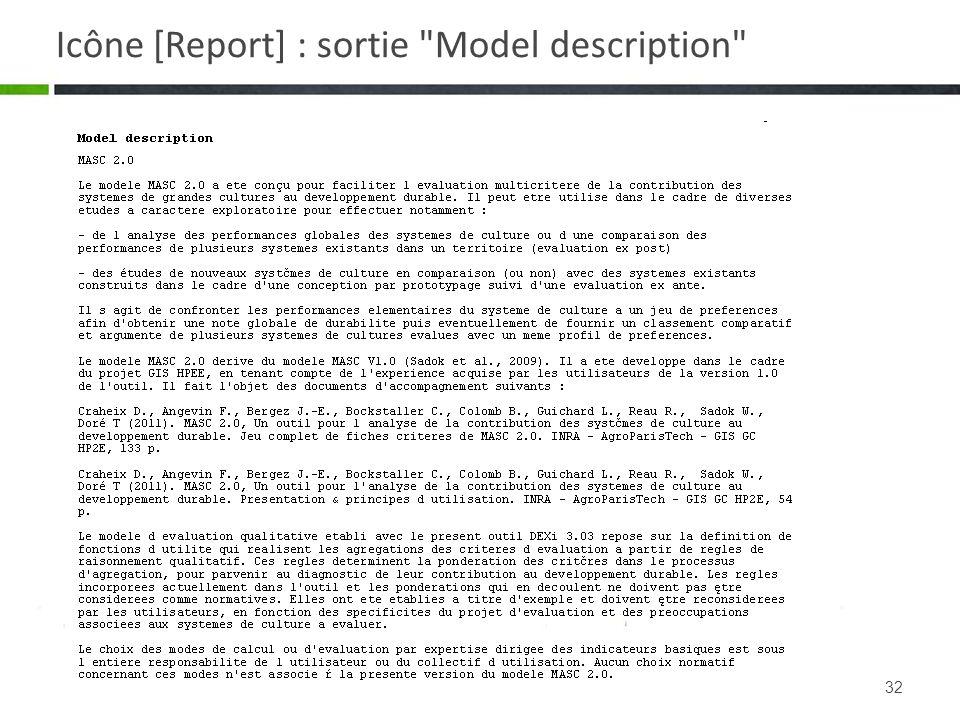32 Icône [Report] : sortie