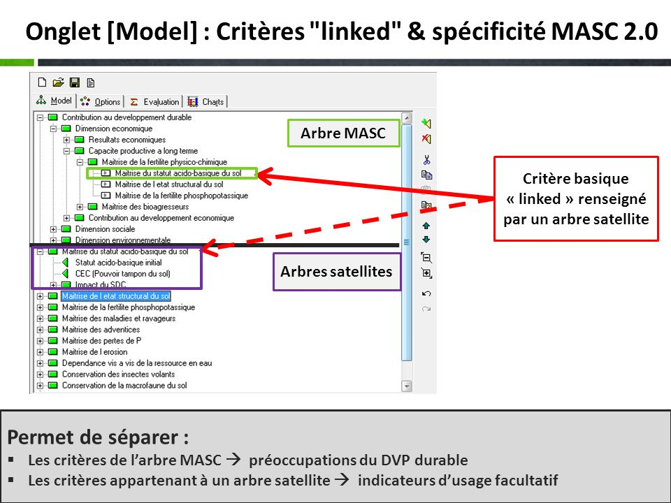 10 Onglet [Model] : 1- Edition dun arbre DEXi Ajout dun critère Suppression dun critère Edition de lintitulé et description succincte du critère Fonctions dédition classiques : couper / copier/coller