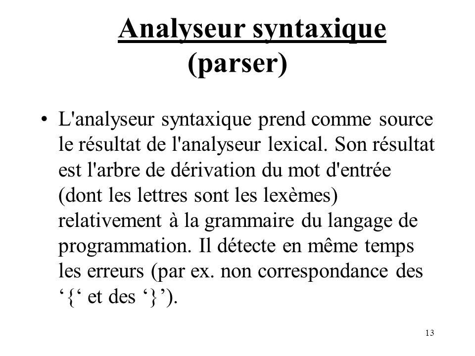 13 Analyseur syntaxique (parser) L analyseur syntaxique prend comme source le résultat de l analyseur lexical.