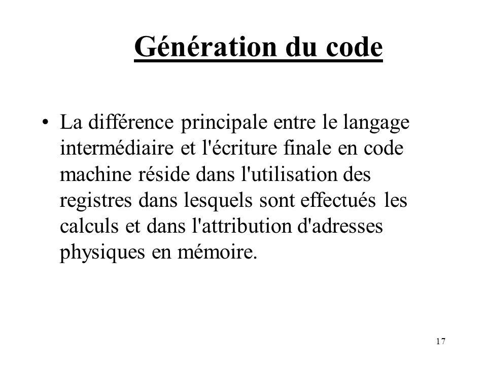 17 Génération du code La différence principale entre le langage intermédiaire et l écriture finale en code machine réside dans l utilisation des registres dans lesquels sont effectués les calculs et dans l attribution d adresses physiques en mémoire.