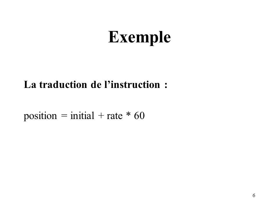 6 Exemple La traduction de linstruction : position = initial + rate * 60