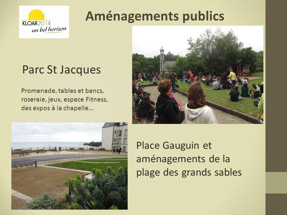 Aménagements publics Parc St Jacques Place Gauguin et aménagements de la plage des grands sables Promenade, tables et bancs, roseraie, jeux, espace Fi