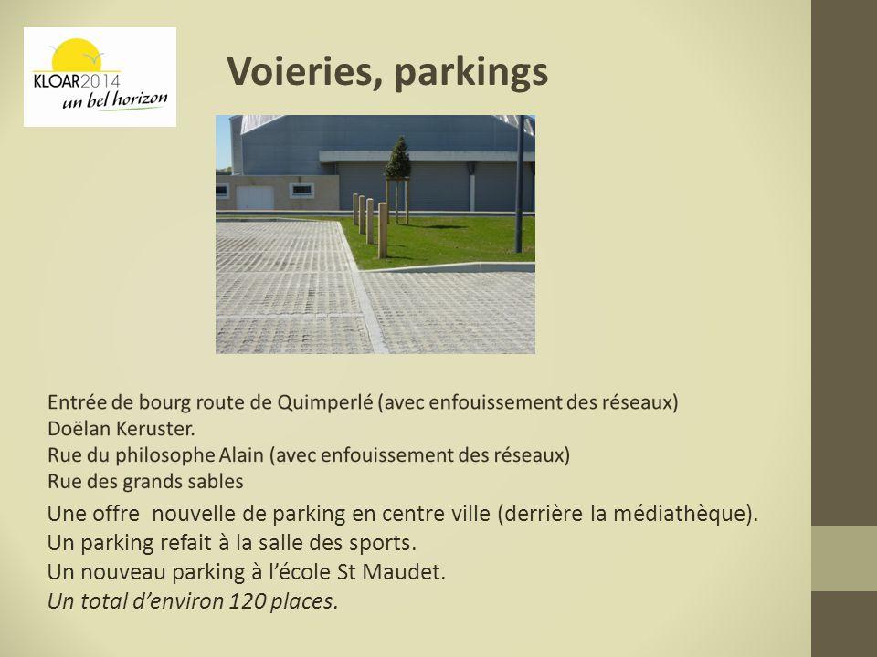 Voieries, parkings Une offre nouvelle de parking en centre ville (derrière la médiathèque). Un parking refait à la salle des sports. Un nouveau parkin