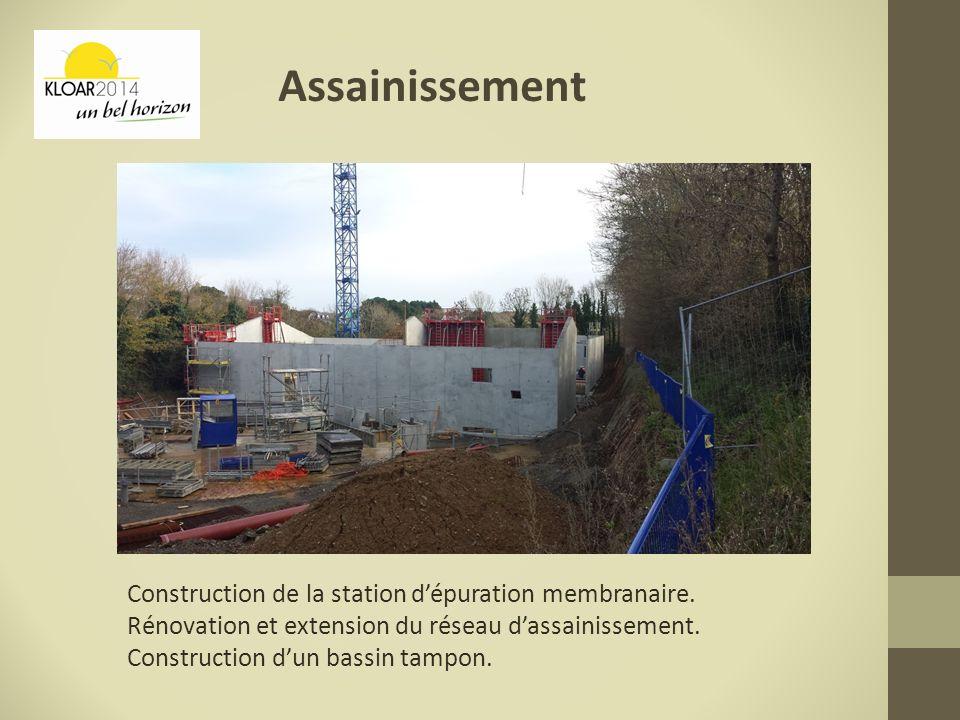 Assainissement Construction de la station dépuration membranaire. Rénovation et extension du réseau dassainissement. Construction dun bassin tampon.