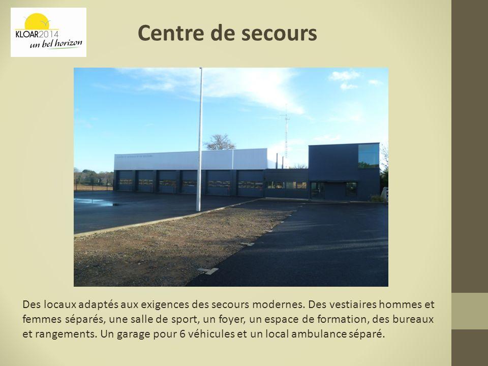 Centre de secours Des locaux adaptés aux exigences des secours modernes. Des vestiaires hommes et femmes séparés, une salle de sport, un foyer, un esp