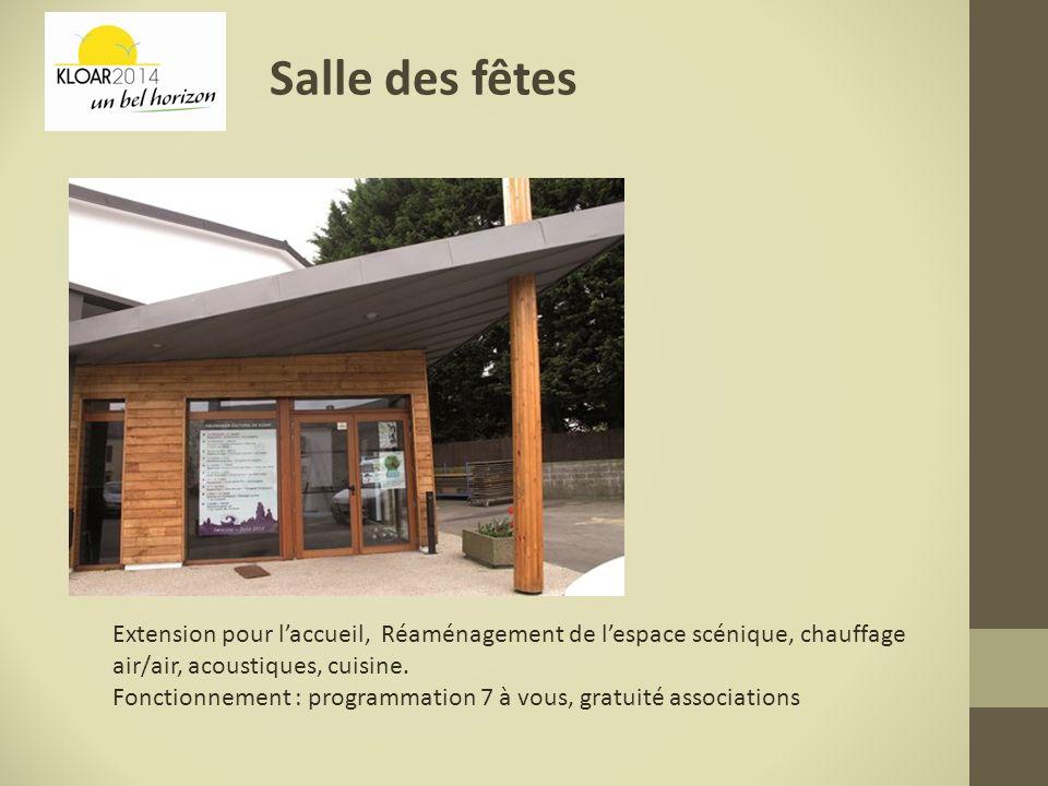 Salle des fêtes Extension pour laccueil, Réaménagement de lespace scénique, chauffage air/air, acoustiques, cuisine. Fonctionnement : programmation 7