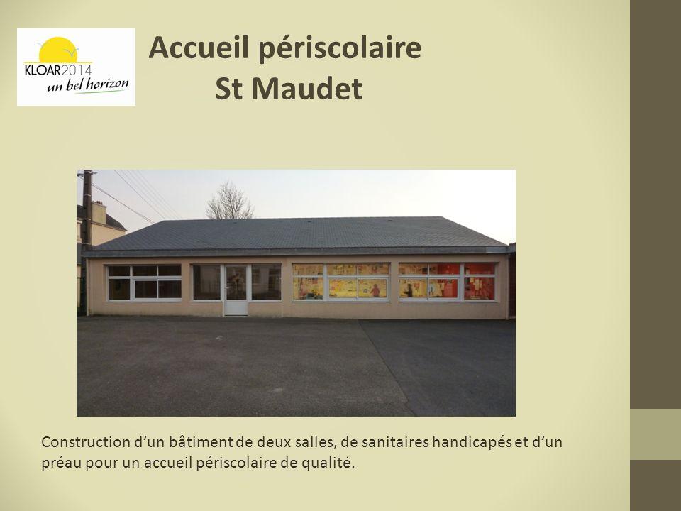 Construction dun bâtiment de deux salles, de sanitaires handicapés et dun préau pour un accueil périscolaire de qualité. Accueil périscolaire St Maude