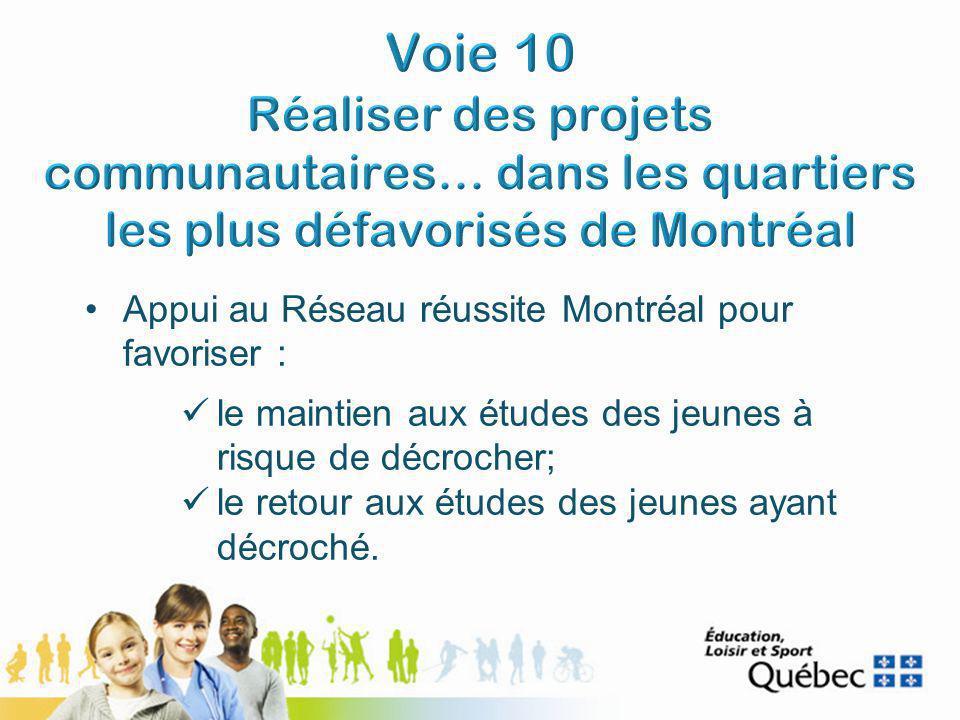 Appui au Réseau réussite Montréal pour favoriser : le maintien aux études des jeunes à risque de décrocher; le retour aux études des jeunes ayant décroché.